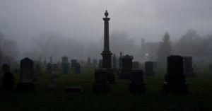 cemetery in the dark