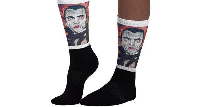 Halloween horror socks featuring Dracula