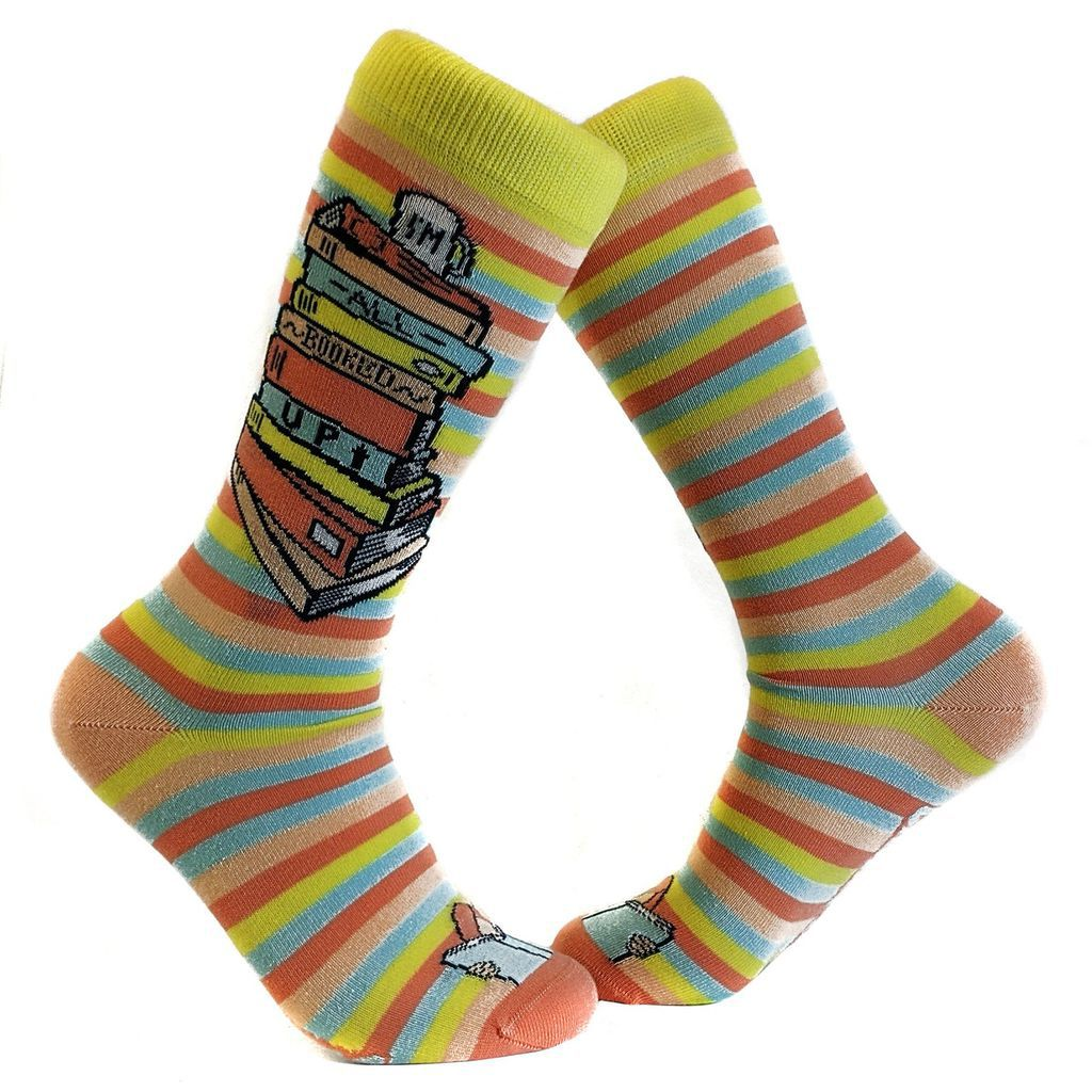 im all booked up striped book socks