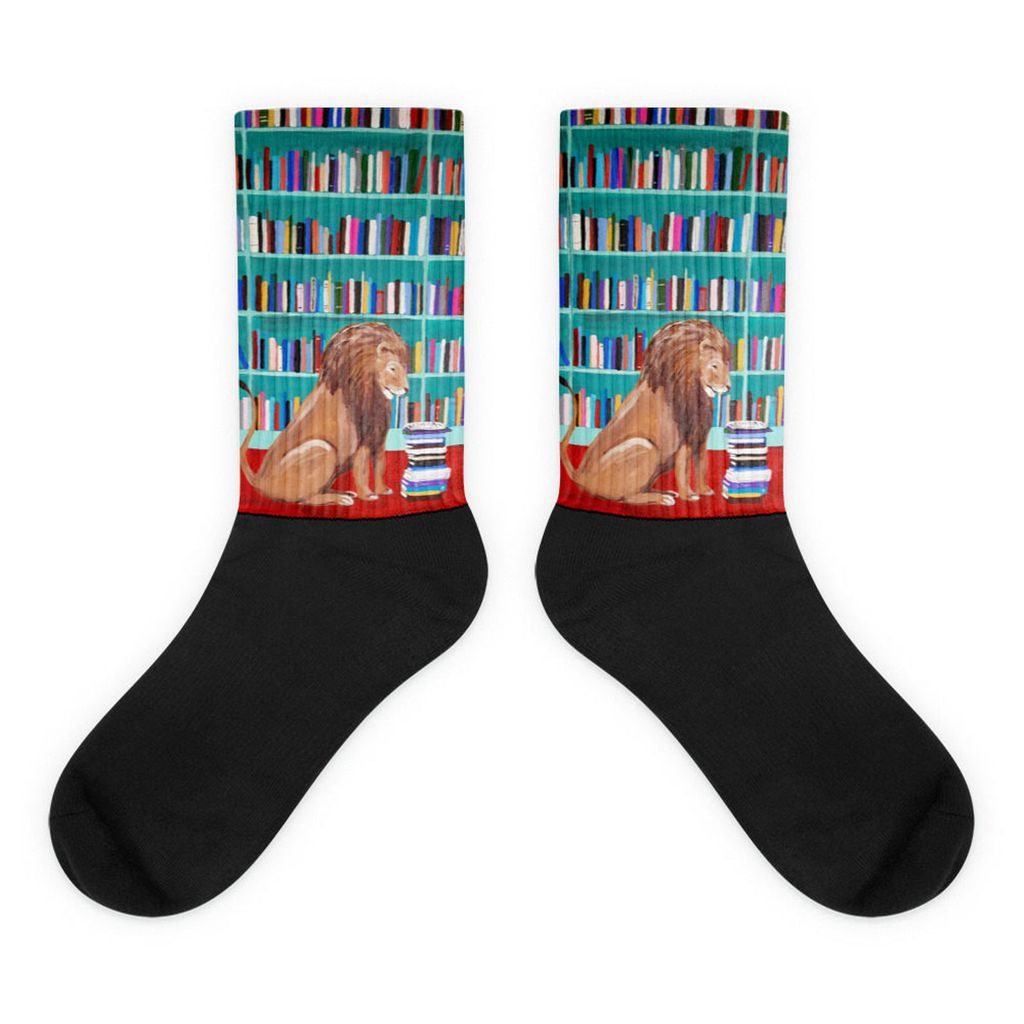 lion in the library book socks