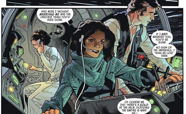Sana Starros in ship with Han Solo and Leia