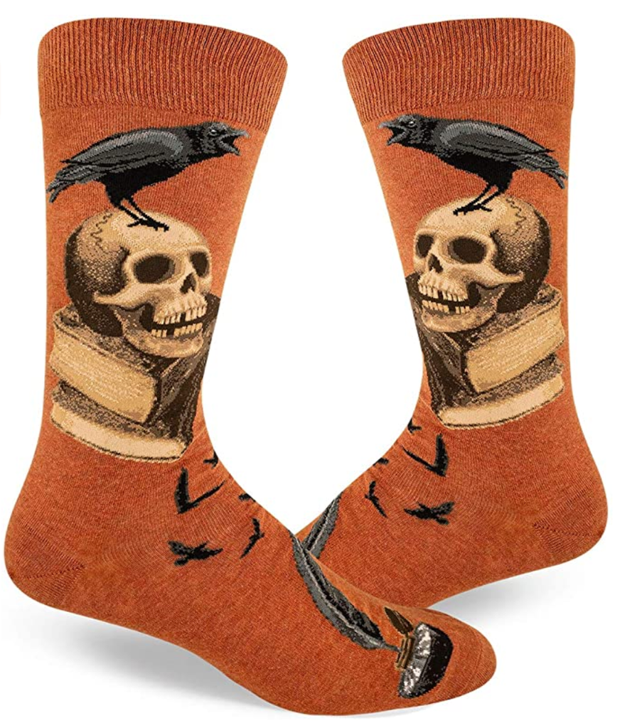 skull crow book socks