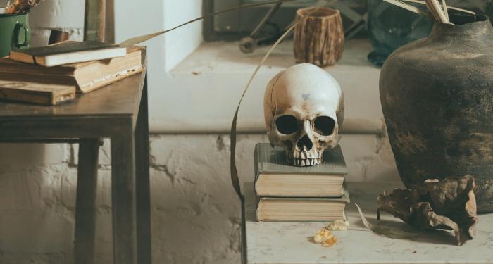 skull on stack of books for supernatural books for halloween