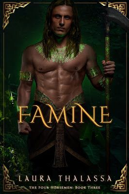 Famine by Laura Thalassa. Cover of Famine by Laura Thalassa shows a shirtless man with a scythe covered in green tattoos. Laura Thalassa Four Horsemen Book 3.