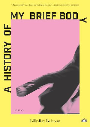 a black and white figure is seen in motion, leaving the window of the cover; the background behind the figure is pink, and there is a yellow border around the edge