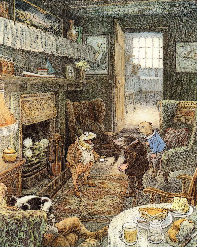 Mounted The Wind in the Willows Print of Toad. Badger Mole and Weasel.jpg.optimal
