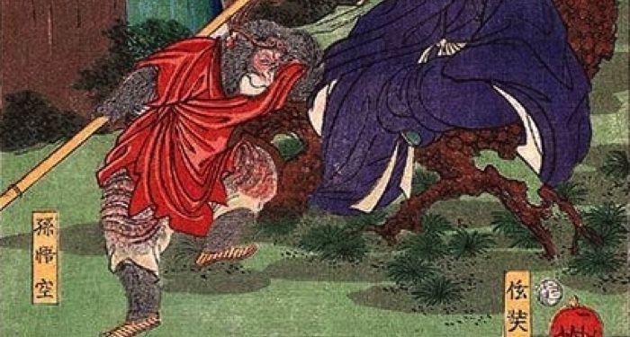 Sun Wukong with Tang Sanzang the monkey king