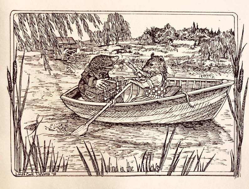 The Wind in the Willows Illustrated Notecards of Rat and Mole on the River.jpg.optimal