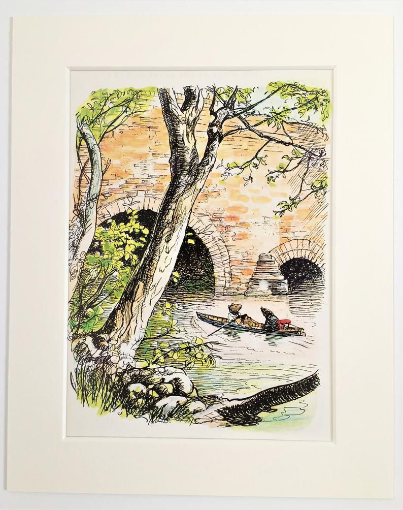The Wind in the Willows Illustration Print of Rat and Mole Rowing.jpg.optimal