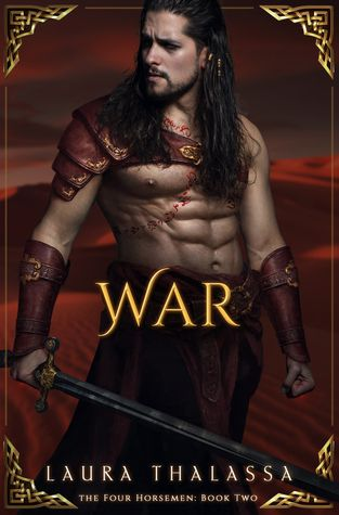 War by Laura Thalassa. Cover for War by Laura Thalassa shows a shirtless man looking to his right in red armor. Laura Thalassa Four Horsemen book 2.