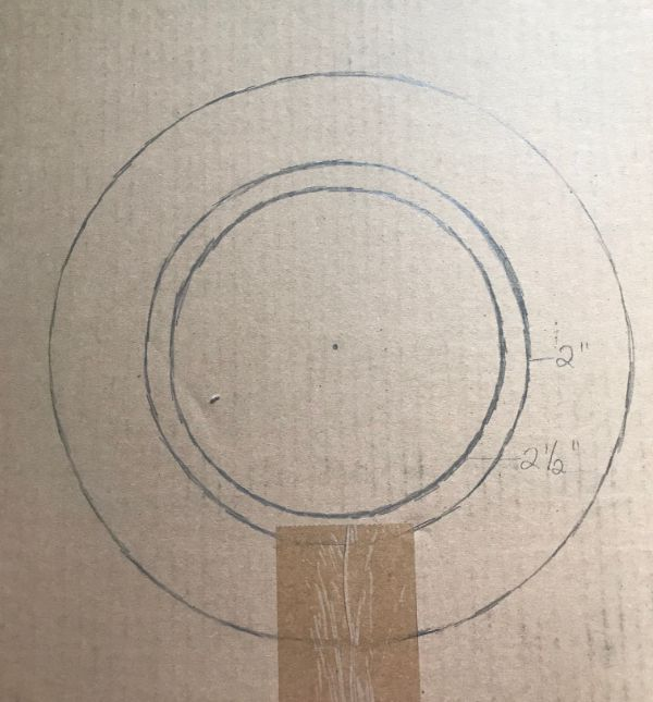 Circles drawn on a piece of cardboard