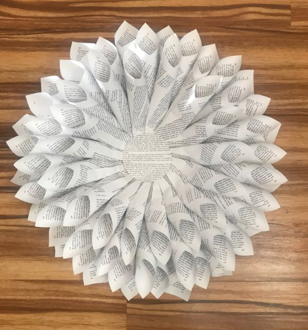 A picture of a finished book page dahlia wreath