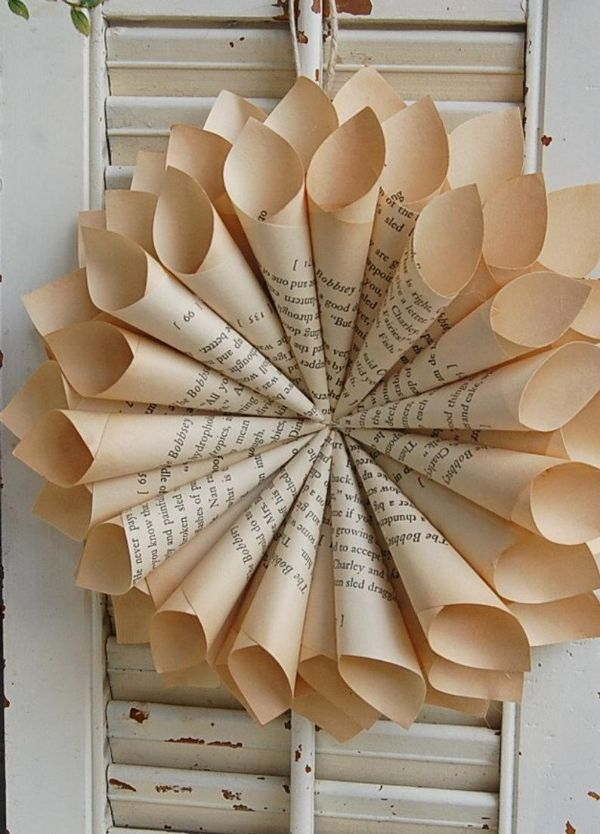 Picture of book page wreath against vintage window shades