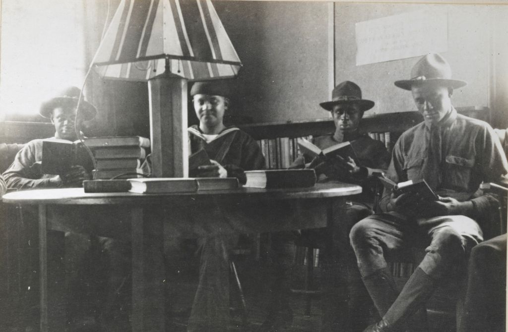 African American Soldiers at a camp library- Newport, A.L.A. archives, from the National Archives