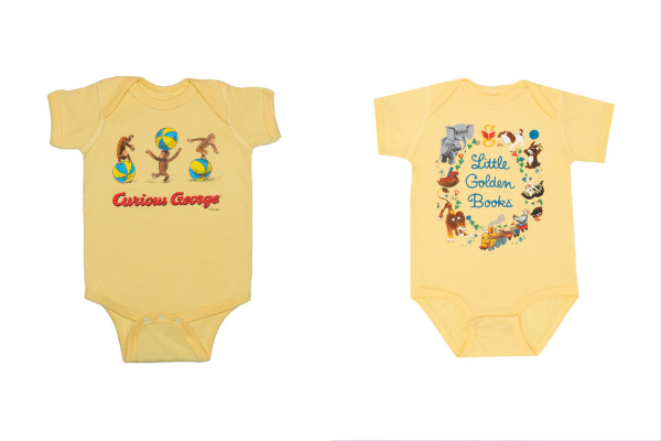 Curious George and Little Golden Books Bodysuits from Bookish Baby Shower Gift Ideas | bookriot.com