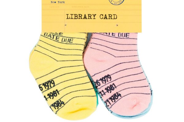Library Card Socks from Bookish Baby Shower Gift Ideas | bookriot.com
