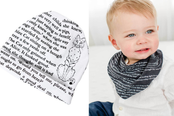 Alice in Wonderland Hat and Bib from Bookish Baby Shower Gift Ideas | bookriot.com