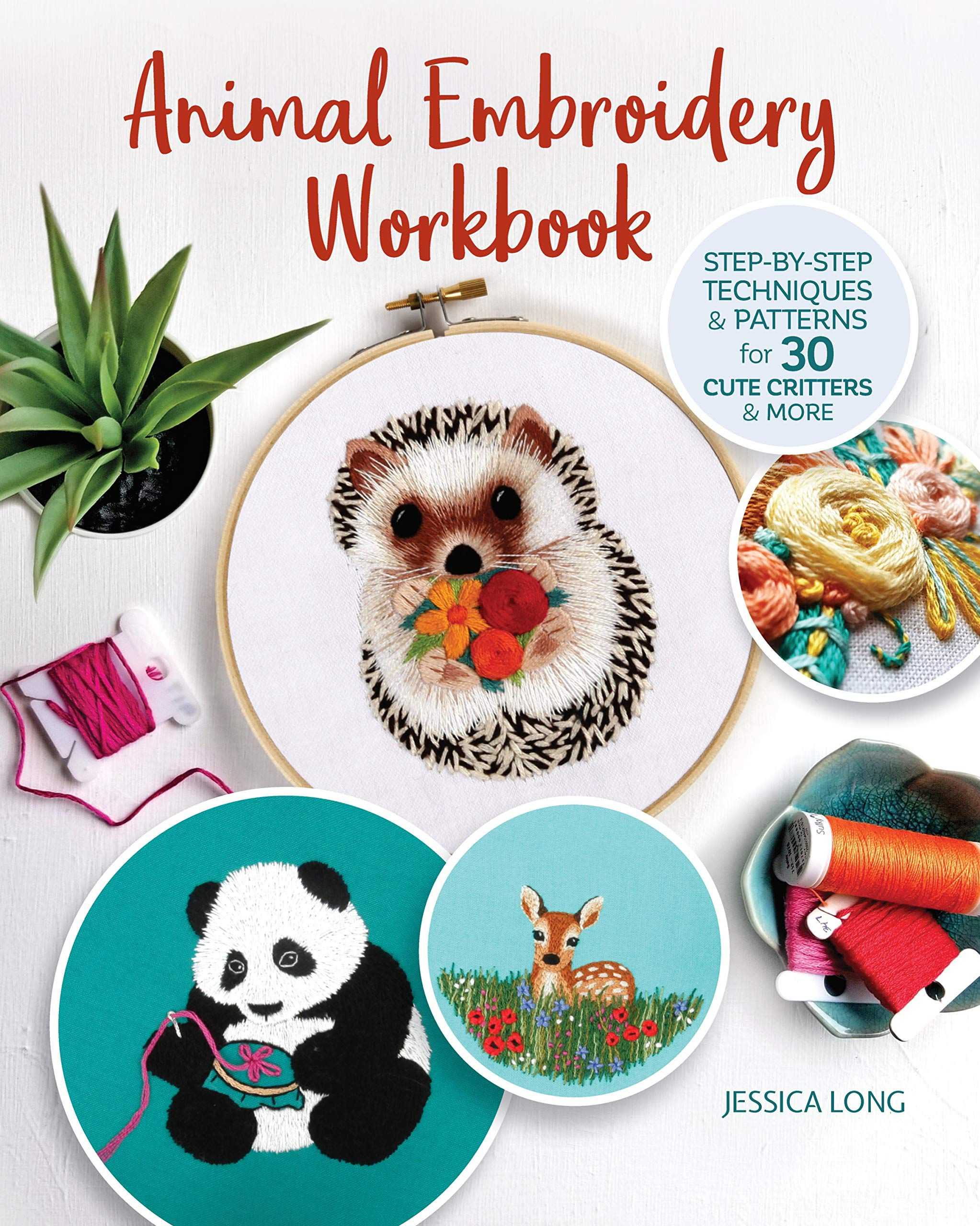 Book cover image of the Animal Embroidery Workbook