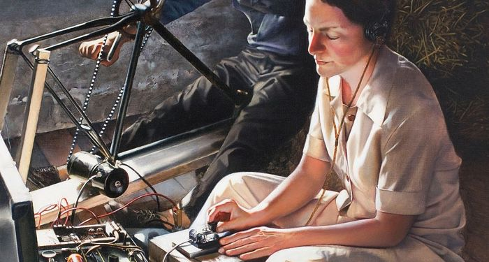 A painting of Virginia Hall as a wireless operator during her second mission to France