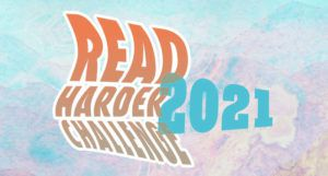 Read Harder Challenge 2021 logo, with a pastel blue and purple background