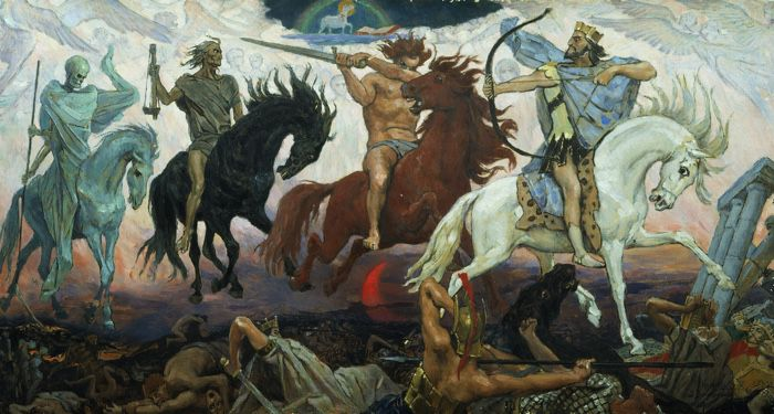Four Horsemen of the Apocalypse, an 1887 painting by Viktor Vasnetsov. From left to right are Death, Famine, War, and Conquest; the Lamb is at the top
