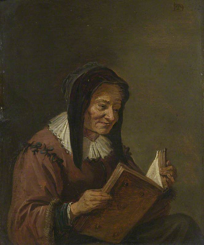 An old woman reading, painted in the manner of David Teniers the younger, circa 1600. Source: National Gallery, UK