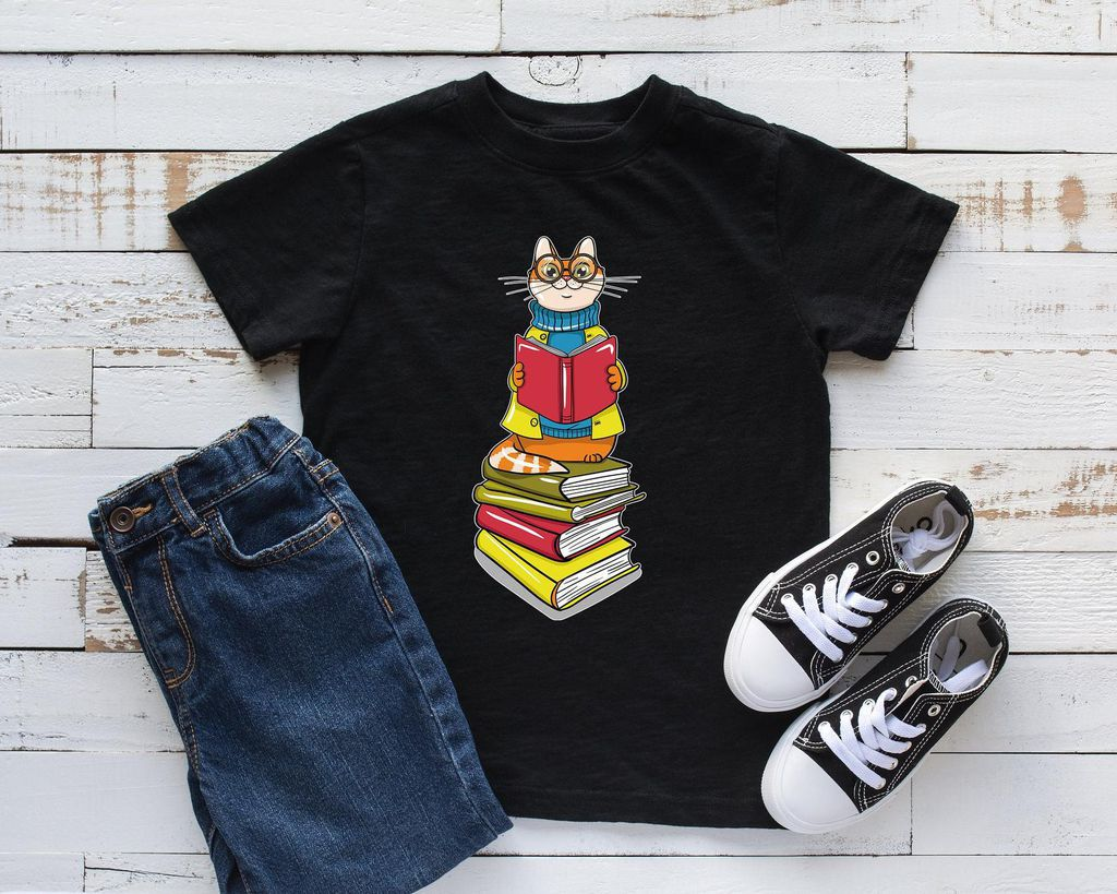 cat book lover tee for kids