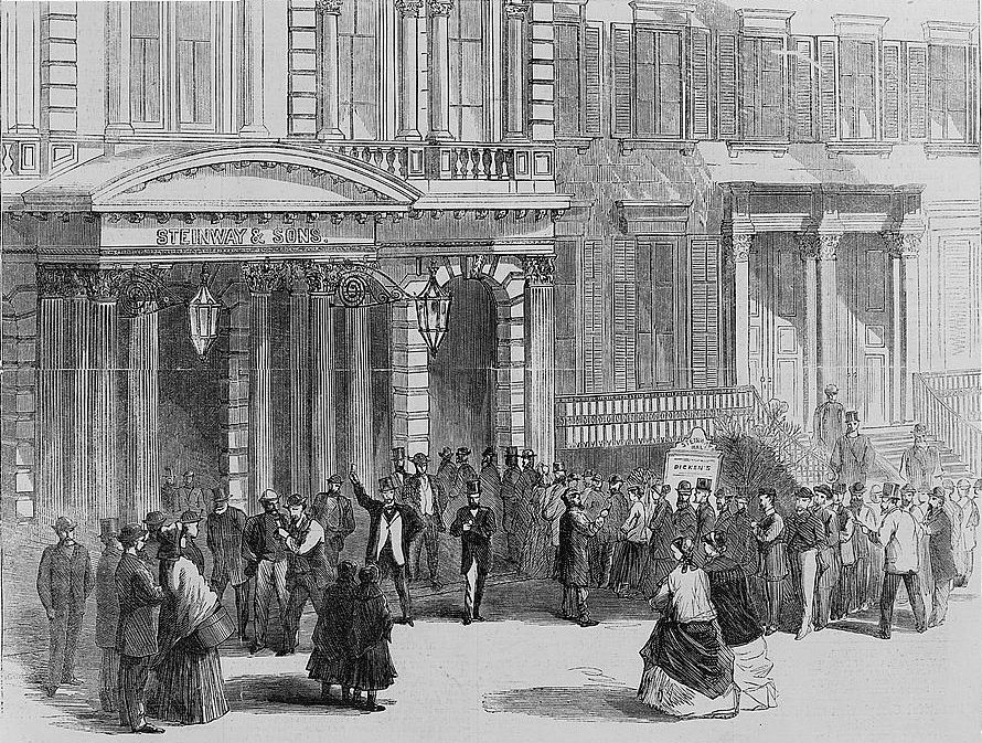 Crowd buying tickets for a Charles Dickens reading at Steinway Hall, New York. Source: United States Library of Congress Prints and Photographs Division