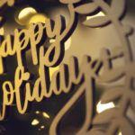 golden metal happy holidays wreath