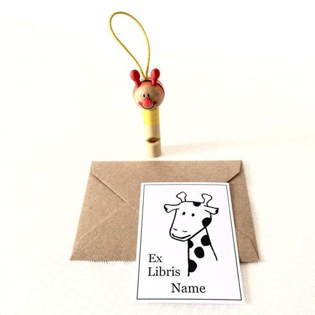personalized giraffe book plates