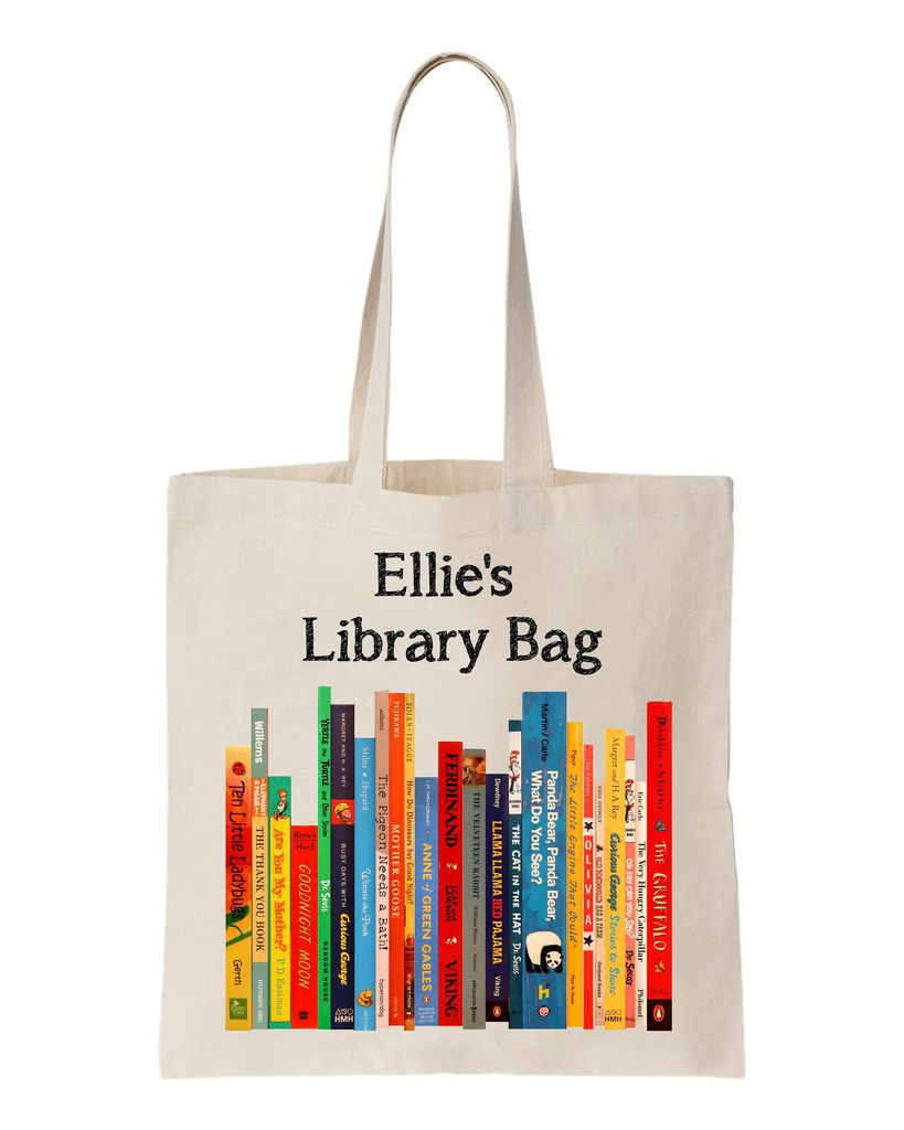 personalized library tote bag