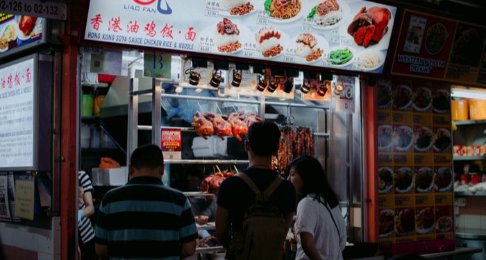 singapore hawker stall for southeast asian food