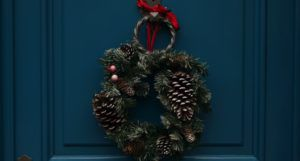 wreath on a blue door for christmas holiday