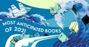 an illustration of ocean waves and a ship cresting the waves; there are books surfing the wave as well