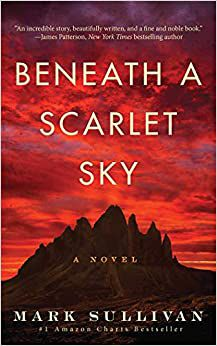 Beneath A Scarlet Sky by Mark Sullivan. An example of a red book cover that gives the sense that something is off.