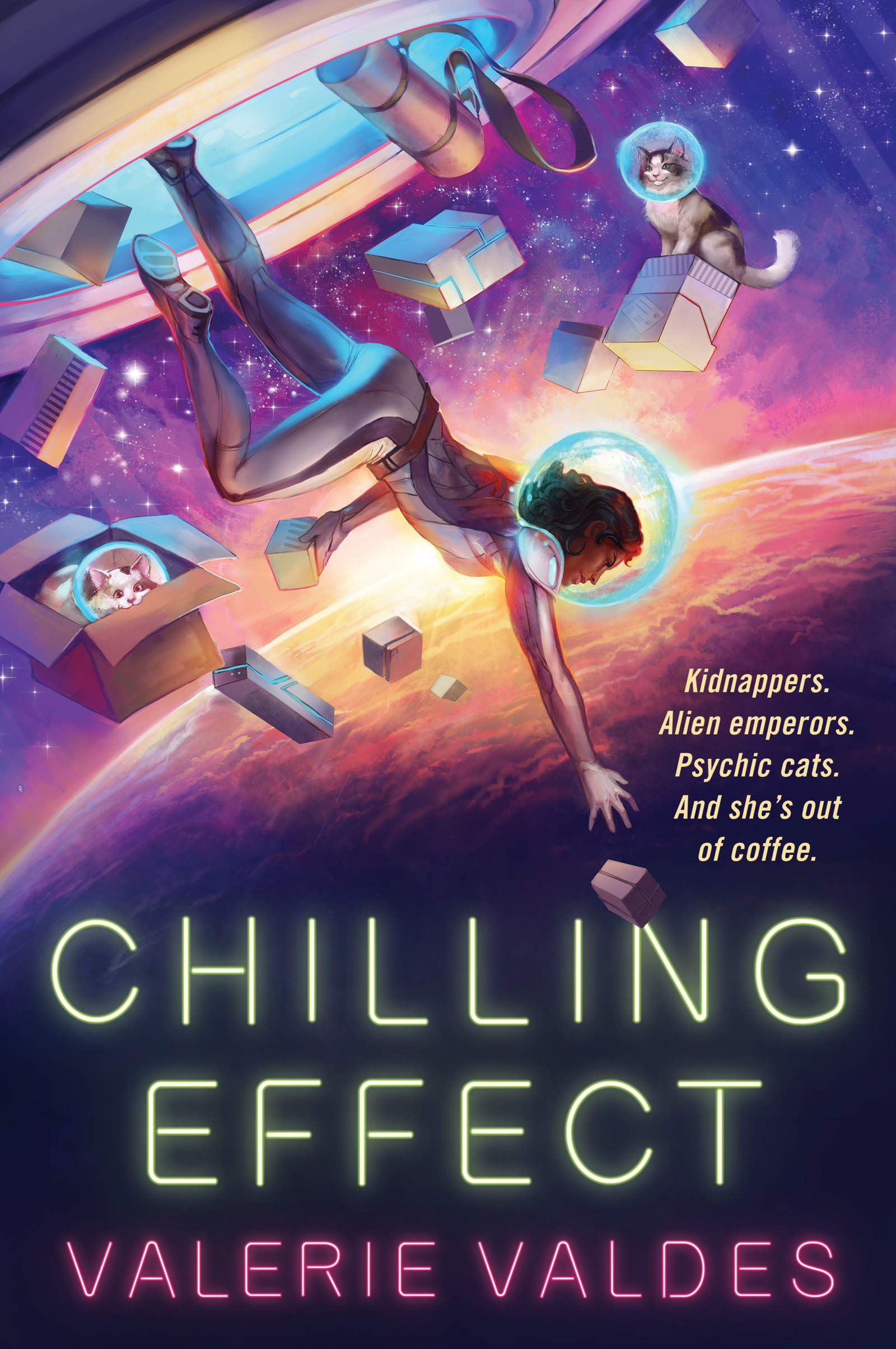 The cover of Chilling Effect, including two cats in space wearing spacesuit helmets