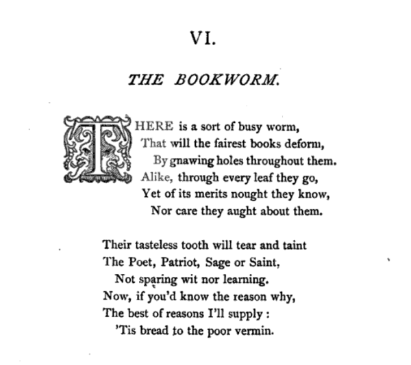 "Image of J. Doraston Poem ""The Bookworm"" in Blade's The Enemies of Books"