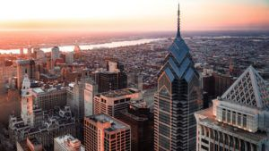 View overlooking Philadelphia cityscape