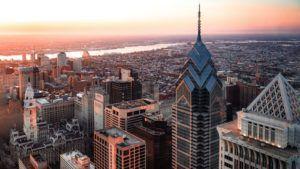 View overlooking Philadelphia cityscape
