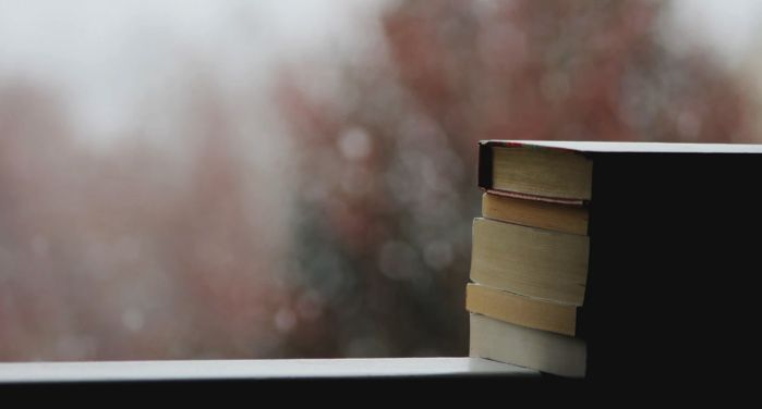 image of a pilot of books perched on a ledge with a blurry rainy/snowy landscape in the background https://unsplash.com/photos/3vZ3V6JUDT0