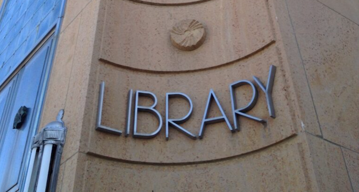 ely library sign