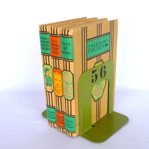 green metal bookends with the number 56 painted on