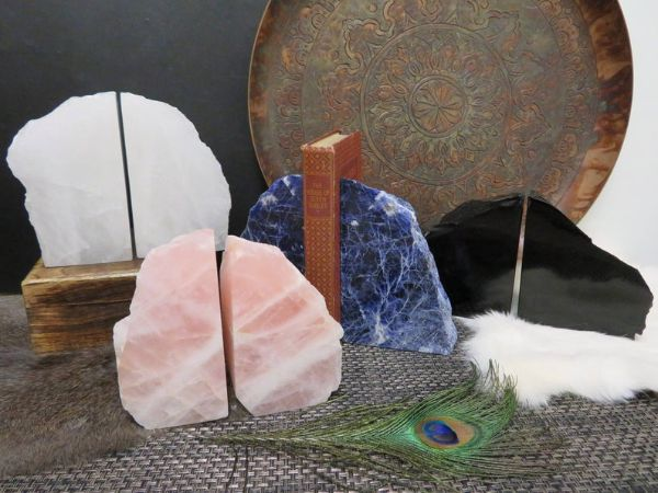 a variety of polished stone etsy bookends