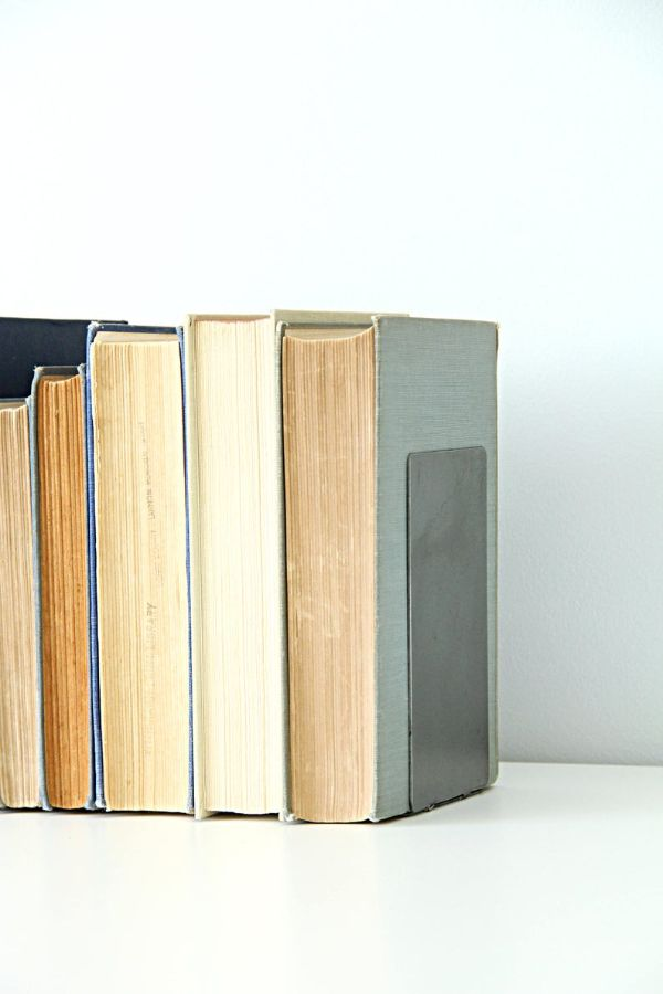 plain metal flat bookends