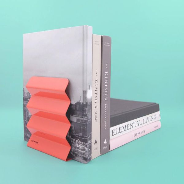 metal corrugated bookend in coral