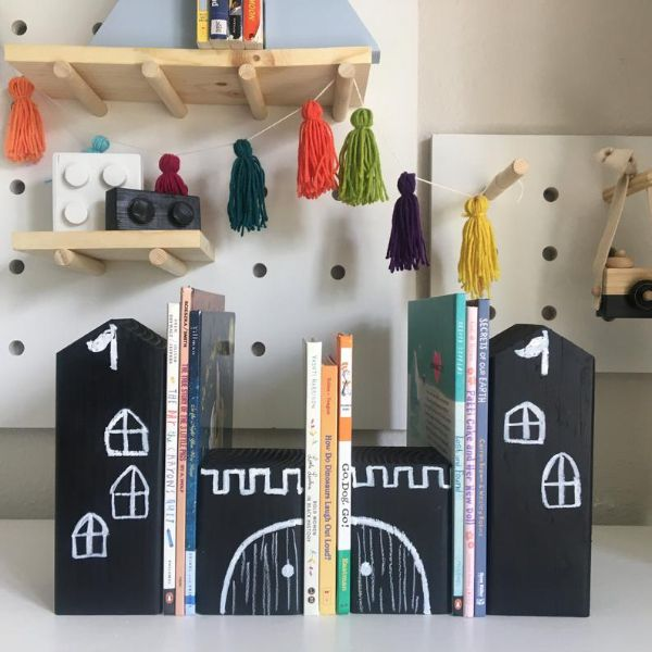 black chalk wood etsy bookends that make it look like a castle