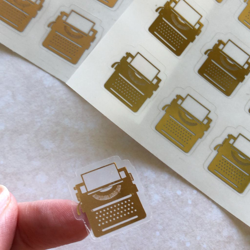 gold typewriter stickers