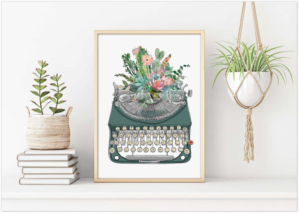 typewriter watercolor print