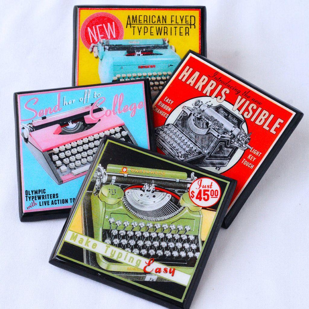 vintage typewriter coasters