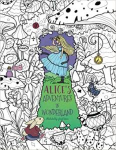 Alice in wonderland coloring book cover